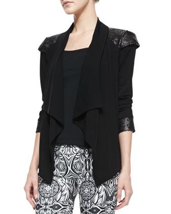 Carina Crepe Leather-Shoulder Jacket & Marta Printed-Leather Pants