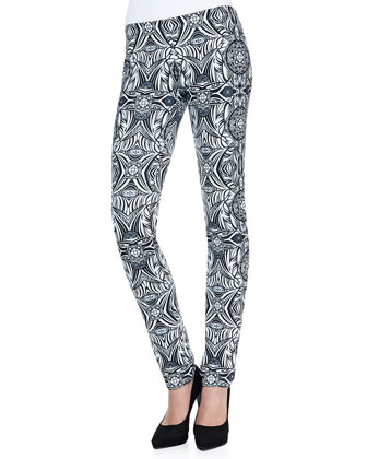 Marta Printed-Leather Pants