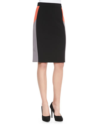 3/4-Sleeve Button Tab Blouse & Colorblock Pencil Skirt