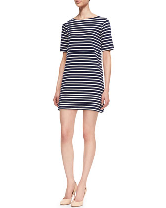Striped-Tunic 3/4-Sleeve Shift Dress