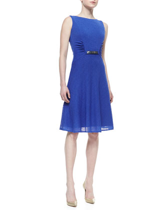 Sleeveless Belted Dress with Ruched Sides, Iris Blue