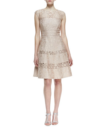 Cap Sleeve Lace Overlay Cocktail Dress, Bisque