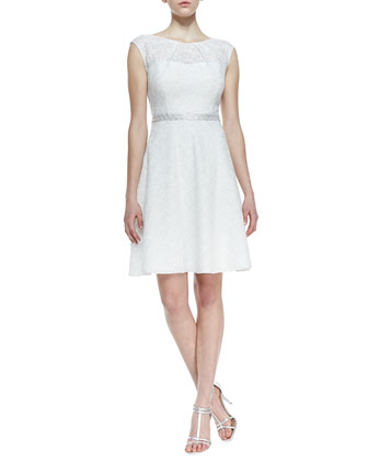 Sequined Lace Fit-and-Flare Cocktail Dress, White/Silver