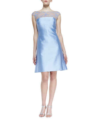Cap-Sleeve Beaded Lace-Yoke Cocktail Dress, Periwinkle
