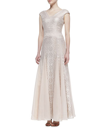 Cap-Sleeve Embroidered Godet Gown, Blush/Platinum