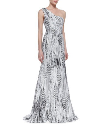 One-Shoulder Printed Gown, Black/White