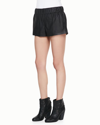 Nicole Split-Back Denim Tank and Coated Pajama Shorts