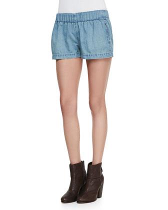 Elastic Chambray Pajama Shorts