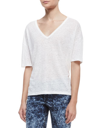 Mack V-Neck Slub Tee, Snow White