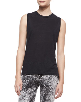 Mack Sleeveless Muscle Tank & The Skinny Acid-Wash Jeans