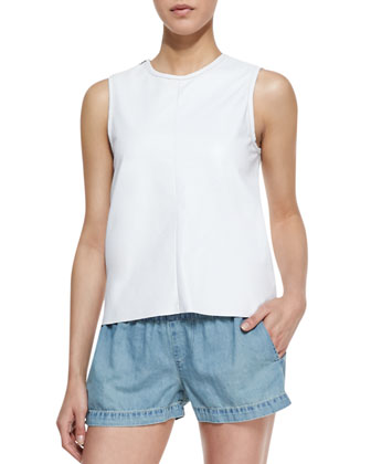 Nicole Cutaway-Back Cotton Tank and Elastic Chambray Pajama Shorts