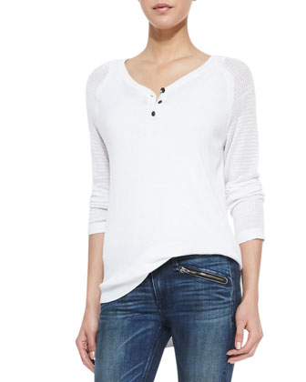 Bobbi Perforated-Sleeve Henley Top and RBW 23 Cropped Jeans