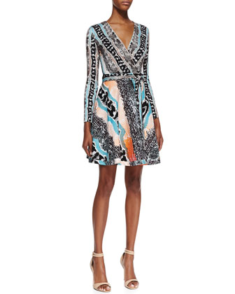 Amelia Long-Sleeve Snake-Print Dress, Multicolor