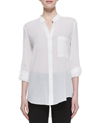 Gilmore Long Sleeve Translucent Blouse, White