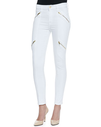 Panel Zip Skinny Moto Pants, White Sateen