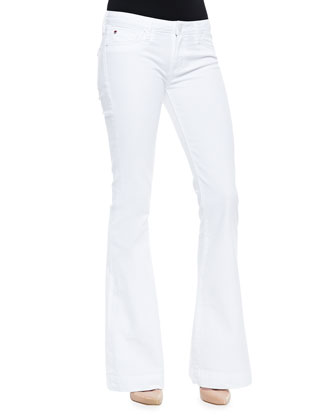 Ellice Sleeveless Eyelet Top & Ferris Stretch-Twill Flare-Leg Jeans