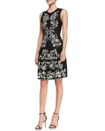 Briella Sleeveless Embroidered Flowers Dress, Black/White