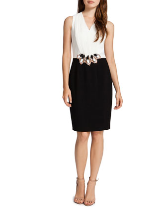Cameron Colorblock Dress with Jeweled Cluster Waist, White/Black