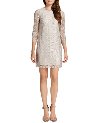 Vida 3/4-Sleeve Metallic Circle Dress, Ceramic