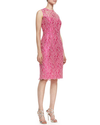 Sleeveless Floral Lace Overlay Cocktail Dress, Hot Pink/Ivory