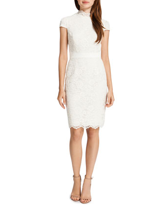 Nell Raised Collar Lace Sheath Dress, Light Cream