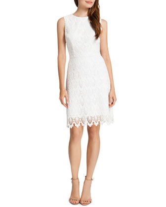 Ramsey Sleeveless Lace Sheath Dress, Light Cream