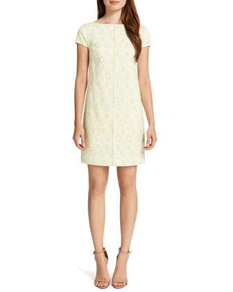 Meena Cap-Sleeve Printed Shift Dress, Cream/Multicolor