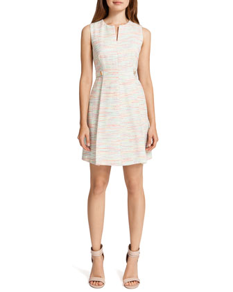Addison Sleeveless Fit-and-Flare Dress, Cream/Multicolor