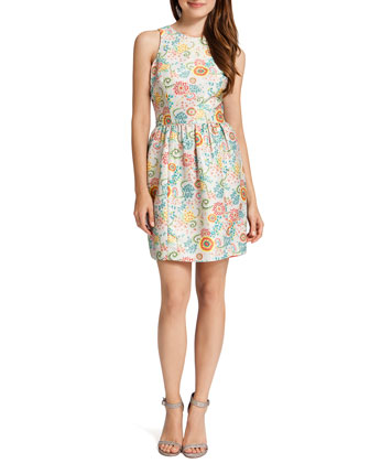 Lola Sleeveless Vintage Print Dress, Multicolor