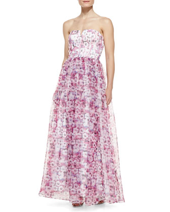 Strapless Floral-Print Ball Gown, Purple/Multicolor