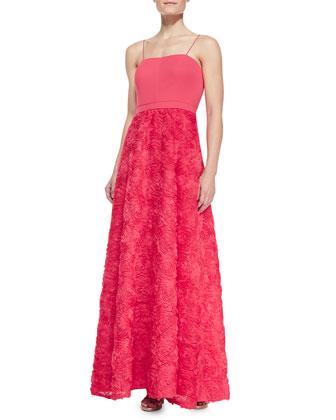 Spaghetti Strap Rosette Skirt Ball Gown, Lipstick Pink