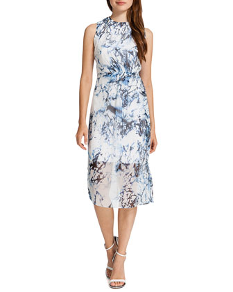 Riva Sleeveless Marble-Print Dress