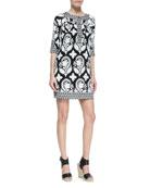 Eloise Half-Sleeve Floral-Print Silk Mini Dress, Black/White