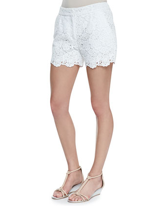 Bryn Printed Chiffon Peasant Blouse & Naples Hippolyte Lace Shorts