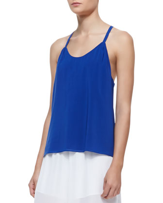 Loma Waterfall Drop Racerback Tank Top & High-Waist Sheer Wide-Leg Pants