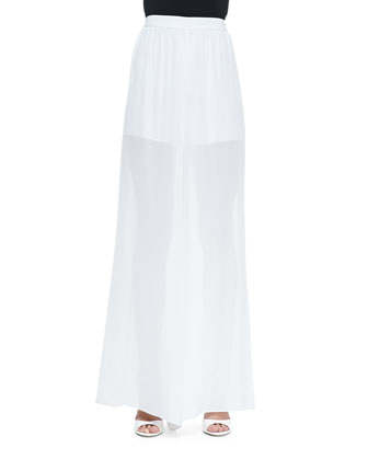 High-Waist Sheer Wide-Leg Pants