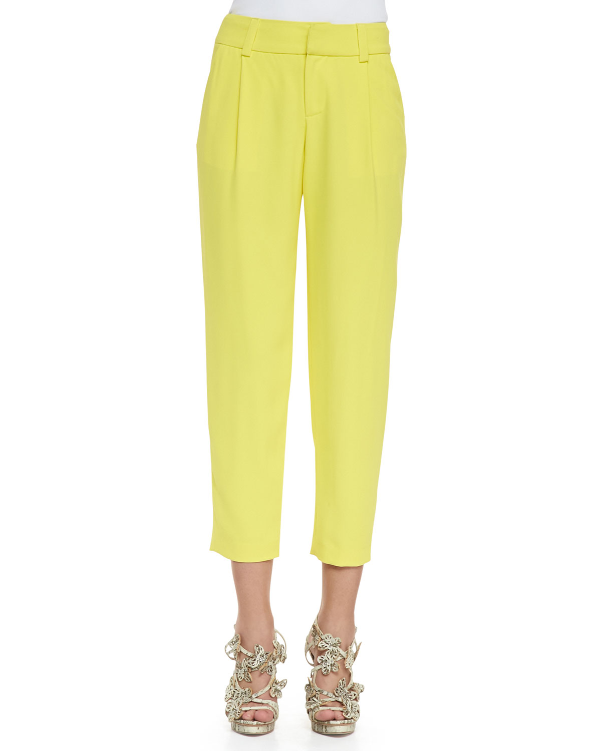 Womens Arthur Pleated Relaxed Pants   Alice + Olivia   Daffodil (4)
