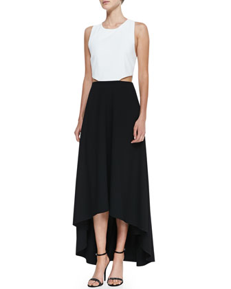 Two-Tone Racerback High-Low Maxi Dress