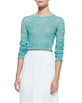 Fallon Sheer-Patch Cropped Sweater