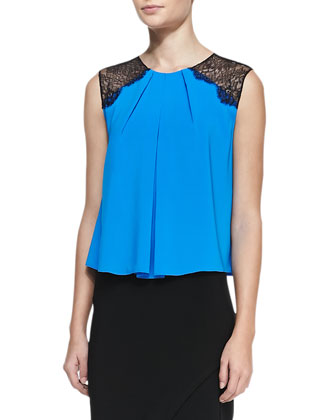 Lorretta Lace-Shoulder Sleeveless Top, Marina
