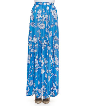 Louie Pleated Floral-Print Maxi Skirt