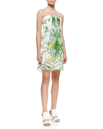 Jazz Leaf-Print Strapless Dress