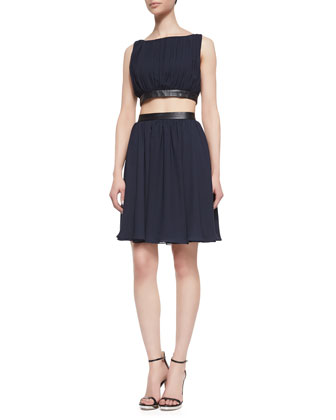 Winny Cutout Leather-Trim Dress
