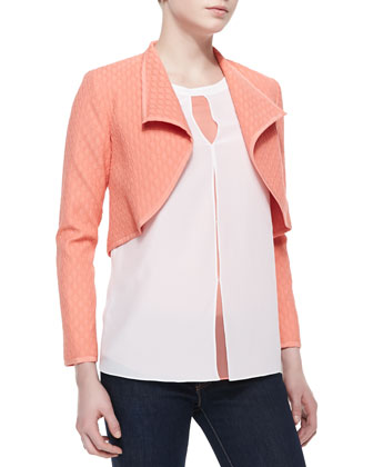 Textured Bolero Jacket & Keyhole Tacked Blouse