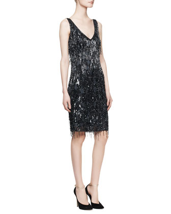 Sleeveless Beaded Fringe Cocktail Dress, Navy