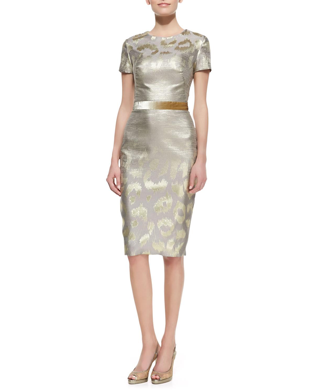 Womens Short Sleeve Metallic Leopard Print Cocktail Dress   Pamella Roland