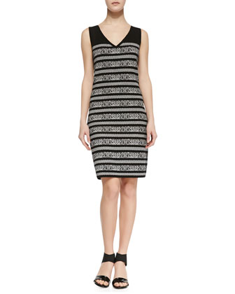 Sleeveless Birdseye-Print Sweater Dress, Black/White