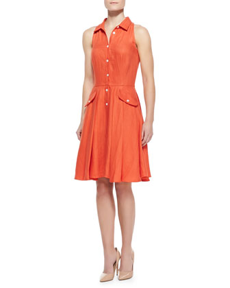 Alohi Sleeveless Poplin Shirtdress