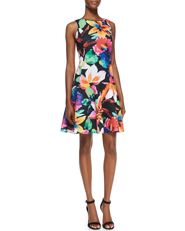 Womens Sleeveless Floral Print Fit & Flare Dress   Ali Ro   Black multi (6)