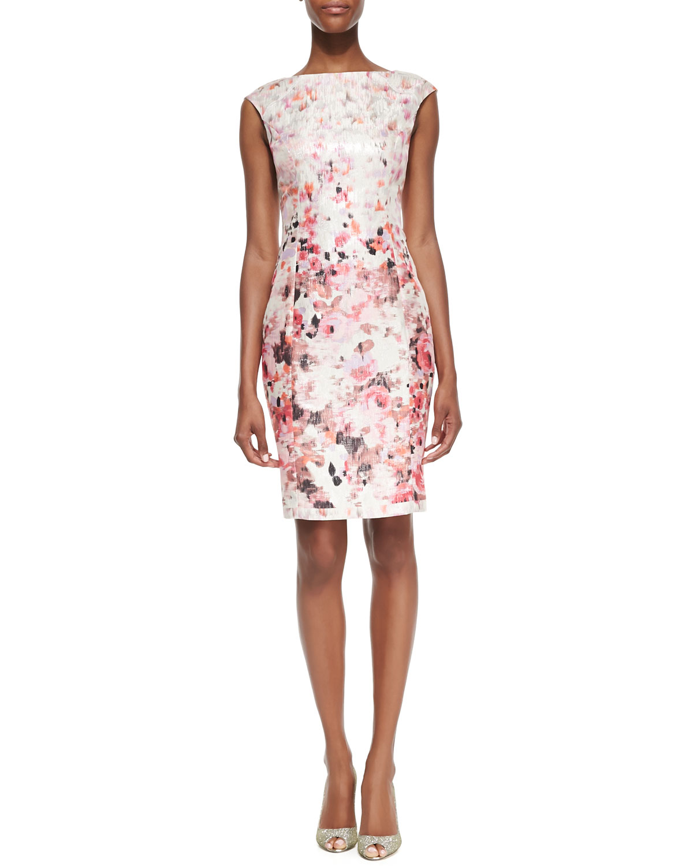 Womens Floral Printed Metallic Sheath Dress   Kay Unger New York   Coral multi